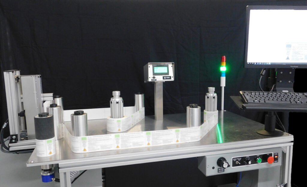 label inspection system on rewind table
